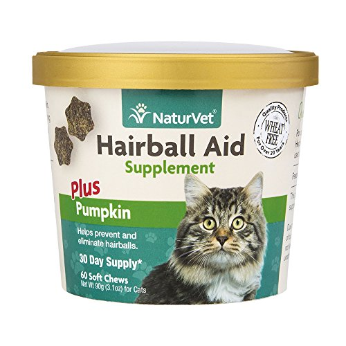 NaturVet Hair Ball Aid Supplements Plus Pumpkin Soft Chew Cup for Cats 60ct