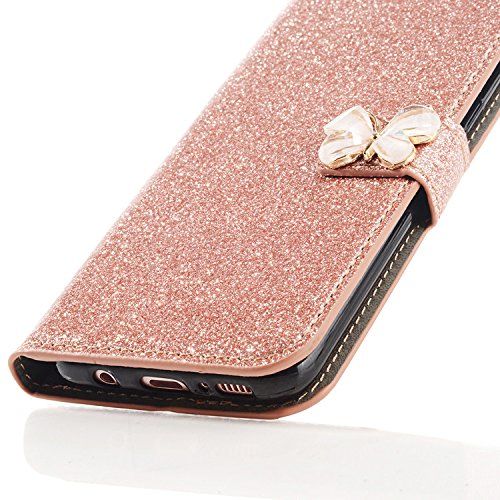 Samsung Galaxy S7 3D Butterfly Sunflower Bling Glitter Glitzer Diamond Musterg Ledertasche Slim Retro Bookstyle mit Standfunktion Karteneinschub und Magnetverschluss Flip Wallet Hülle Schutzhülle