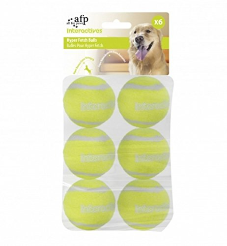 All for Paws 3198 Interactives – Hyper Fetch Super Bounce Tennis Balls – Ersatzbälle für Ballwurfmaschine, 6er Pack