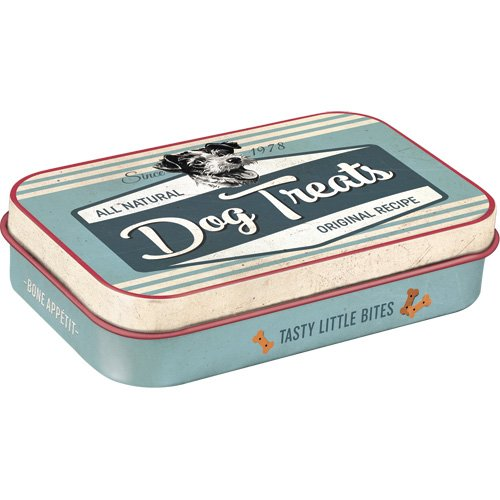 Nostalgic-Art 82201 PfotenSchild – Dog Treats Blue |Leckerli-Dose| Leckerlis-Box | für Unterwegs | To Go